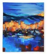 Sunset Over The Village 2 By Elise Palmigiani Fleece Blanket
