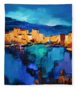 Sunset Over The Village 3 By Elise Palmigiani Fleece Blanket