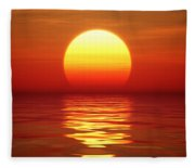 Sunset Over Tranqual Water Fleece Blanket