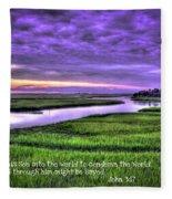 Sunset Over Turners Creek John 3 17 Fleece Blanket