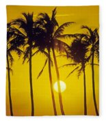 Sunset Palms And Family Fleece Blanket