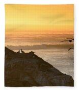 Sunset Pelicans IIi Fleece Blanket