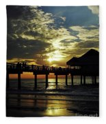 Sunset Pier Reflection Fleece Blanket