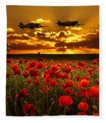 Sunset Poppies Fighter Command Fleece Blanket