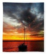 Sunset Sailboat Fleece Blanket