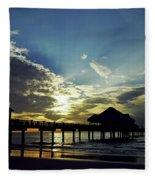 Sunset Silhouette Pier 60 Fleece Blanket