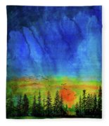 Sunset Silhouette With Canada Geese Fleece Blanket