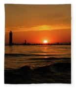 Sunset Silhouettes At Grand Haven Michigan Fleece Blanket