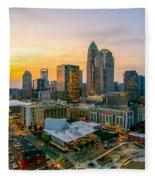 Sunset Sunrise Over Charlotte Skyline North Carolina Fleece Blanket