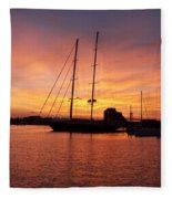 Sunset Tall Ships Fleece Blanket