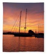 Sunset Tall Ships Fleece Blanket