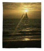 Sunset Through Sailboat Fleece Blanket