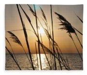 Sunset Through The Dune Grass Fleece Blanket