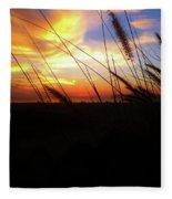 Sunset Through The Sea Grass Fleece Blanket