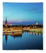 Sunset To Blue Hour Panorama Over Gamla Stan In Stockholm Fleece Blanket