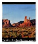 Sunset Tour Valley Of The Gods Utah Text 09 Black Fleece Blanket