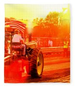 Sunset Tractor Pull Fleece Blanket