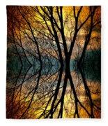 Sunset Tree Silhouette Abstract 3 Fleece Blanket