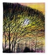 Sunset Tree Silhouette Fleece Blanket