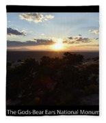 Sunset Valley Of The Gods Utah 01 Text Black Fleece Blanket