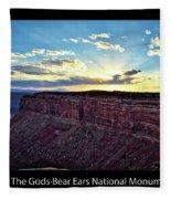 Sunset Valley Of The Gods Utah 03 Text Black Fleece Blanket