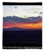 Sunset Valley Of The Gods Utah 05 Text Black Fleece Blanket