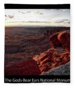 Sunset Valley Of The Gods Utah 09 Text Black Fleece Blanket