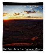 Sunset Valley Of The Gods Utah 11 Text Black Fleece Blanket