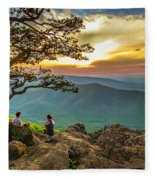 Sunset View At Ravens Roost Panorama Fleece Blanket