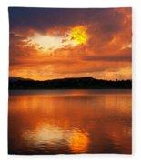 Sunset With A Golden Nugget Fleece Blanket