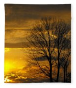 Sunset With Backlit Trees Fleece Blanket
