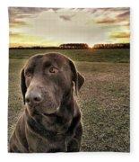 Sunset With My Good Boy Brownie  Fleece Blanket