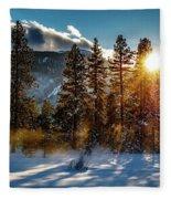 Sunset With Trees Fleece Blanket