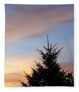 Sunset With Two Pine Trees Fleece Blanket