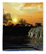Sunset Zebras At The Watering Hole Fleece Blanket