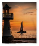 Sunsets And Sailboats Fleece Blanket