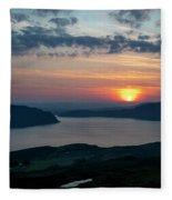 Sunsetting Over Portree, Isle Of Skye, Scotland. Fleece Blanket