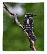 Sunshine Needed - Male Downy Woodpecker Fleece Blanket