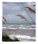 Sunshine Skyway Bridge Viewed From Fort De Soto Park Fleece Blanket