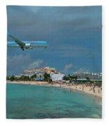 Sunwing Airline At Sxm Airport Fleece Blanket