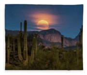 Super Moon 2018 - Wolf Moon  Fleece Blanket