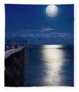 Super Moon At Juno Fleece Blanket