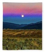 Super Moon Over Taos Fleece Blanket