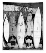 Surf Board Fence Maui Hawaii Square Format Fleece Blanket