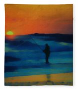 Surf Fishing Fleece Blanket