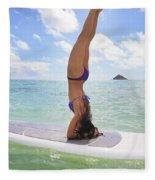 Surfboard Headstand Fleece Blanket