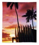 Surfboard Sunset Fleece Blanket