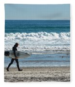 Surfer And His Board Fleece Blanket