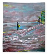 Surfer On A Foggy Day Fleece Blanket