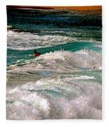 Surfer On Surf, Sunset Beach Fleece Blanket